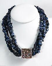Bat-Ami Sterling Silver Pendant Bead Demortierite Crystals Necklace NE79