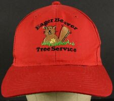 Eager Beaver Tree Service Red Baseball Hat Cap with Snapback Adjust Strap