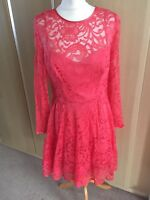 BNWT Lovely COAST Coral Red Mallary Lace dress size 14-£150