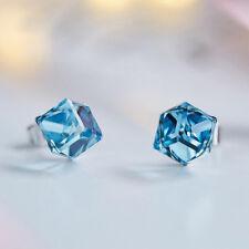Xmas Gift 925 Sterling Silver Ocean Blue Topaz Austrian crystal Stud Earrings