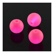 Strand 135+ Fuchsia Glass 6mm Frosted Plain Round Beads Y05260