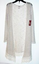 ARIZONA MARLED HATCHI KNIT DUSTER SWEATER IVORY MSRP $52 JUNIORS Sz S NWT