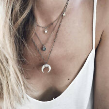 Layered Crescent Moon Star Necklace Choker Clavicle Chain for Festival Gift one