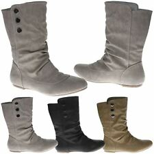 Eileen Womens Flat 3 Button Mid Calf Boots Biker Slouch Pull On Ladies Shoes New