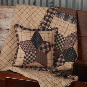 "VHC Brands Americana 10""x10"" Patchwork Pillow Black Thanksgiving Bedroom Decor"