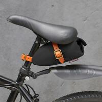 Tourbon Vintage Waterproof Canvas Bike Saddle Bag with Leather Straps On -Black