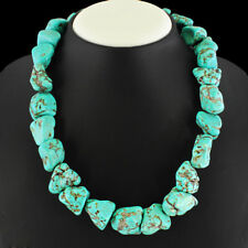 FINEST RARE 940.00 CTS NATURAL UNTREATED TURQUOISE BEADS NECKLACE - LOWEST PRICE