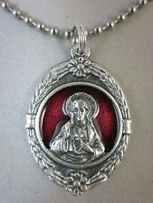 "Large Sacred Heart Medal Red Enamel Italy Pendant Necklace 24"" Ball Chain"