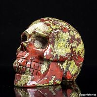 980g Large Natural Dragon Blood Stone Quartz Crystal Hand Carved Skull Healing