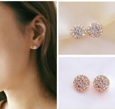 Fashion Women Elegant circle clear Crystal Rhinestone Ear Stud Earrings beauty