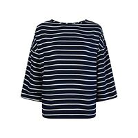 NEW Ex M&S Ladies Jersey Top Blue White Striped Size 8 - 22 Casual 3/4 Sleeve
