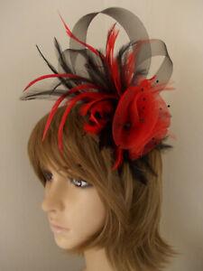 Red & Black Fascinator feathers loops beads headband