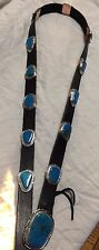 Gorgeous New Navajo GBoyd Sterling Silver Blue Gem Turquoise Concho Belt USA
