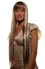 Perruque Femmes Long séduisant Noble brune avec weißen mèches LISSE 75 cm