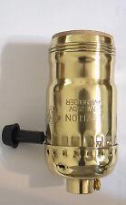 NEW Leviton Solid Brass Uno Thread Shell On / Off Turn Knob Lamp Socket  #SO100