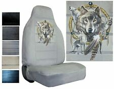 Velour Seat Covers Car Truck SUV Wolves With Dreamcatcher High Back pp #Z