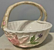 Vintage Hand-Painted Fitz & Floyd Ceramic Floral Basket - Mcmlxxxiv (1984)