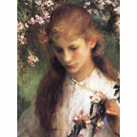 Clausen Apple Blossom Girl Flowers Painting XL Canvas Art Print
