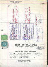 South Africa 1957 KGVI Deed of Transfer Revenue Document Bearing £5 & 15/-