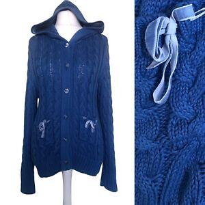 Joe Browns Hoodie Cardigan UK 18 Blue Chunky Knit Pocket Long Sleeve Sweater
