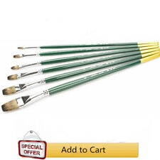 Mongoose Hair Flat Artist Paint Brushes Green Handle 6 Pieces/Set Brush for Oils
