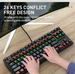 LED Rainbow Light Backlit Gaming Mechanical Keyboard Anti-ghosting RGB (87key)