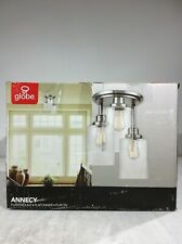 Globe Electric Annecy  3-Light Brushed Steel Semi-Flush Mount Ceiling Light