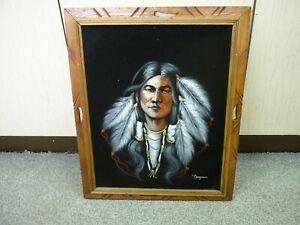NATIVE AMERICAN RED INDIAN BLACK FELT CANVAS WALL ART PICTURE - SIGNED