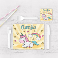 Personalised Unicorn Stars & Rainbow Kids Children's Table Placemat & Coaster