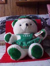 "1989 White Female Green Christmas KMart Bear With Tags KMart Co 20"" Santa's Club"