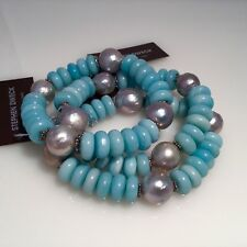 SOLD OUT! STEPHEN DWECK AMAZONITE WITH SILVER BAROQUE PEARLS & SMALL S/S ACCENTS