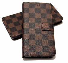 For SAMSUNG GALAXY S8 Book Style Brown Black Plaid Case Cover Card Poc