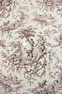 French Antique Maroon & Cream Baby Childrens' Toile Fabric Curtain c1900
