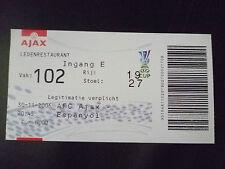 Tickets- 2006 UEFA Cup- AJAX v ESPANYOL, 30 November