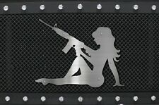 Universal Stainless Steel Grill Badge Emblem Truck Vehicle MUDFLAP GIRL RIFLE