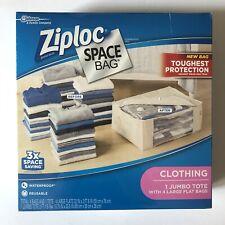 Ziploc Space Bag 1 Jumbo Tote + 4 Large Flat Storage Bags Waterproof Reusable