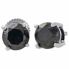 10K White Gold AAA Black Round Solitaire Diamond Studs 6mm Earrings 2 Ct.