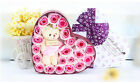 Rose soap flower + heart shaped  box with teddy(fast shipping)