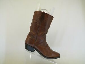 Brown Leather Cowboy Western Boots Mens Size 10 D