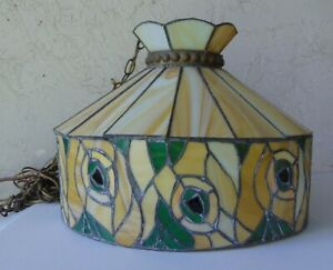 TIFFANY STYLE CEILING FLORAL STAINED GLASS SHADE, GREEN YELLOW, SLAG GLASS