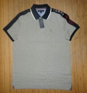 NWT Mens Tommy Hilfiger S/S Polo Shirt~GRAY / NAVY~SZ MED