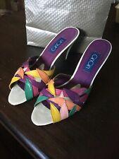 Cincin Vtg 80s Leather High Heel Shoes Sandals 7.5m.