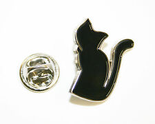 Cat Black Metal  Lapel Pin Badge -Black Enamel -Lucky-15mm- L039
