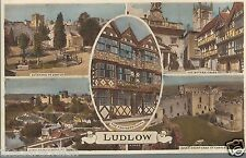 Ludlow - Multiview  Butter Cross Castle Whitcliff Old Unposted Postcard