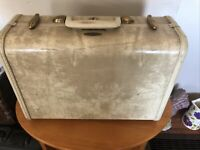 "Vintage Small Samsonite Suitcase 15"" Luggage Marbled cream color no key"