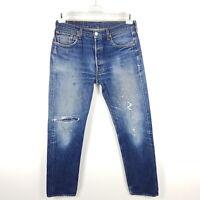 Levi's Jeans 501 Herren W34 (wie W32) L34 Blau Straight Distressed Used Ripped