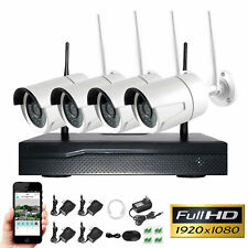 4CH Wireless 1080P NVR Indoor Outdoor WIFI CCTV Security Camera System Kit 12V