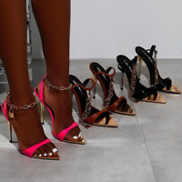Sexy Womens High Heels Metal Chain Strap Sandals Pointy Toe Stilettos Lock Shoes