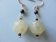 CARVED GREEN JADE GLASS BEAD w/SHOU SYMBOL DESIGNS PIERCED GOLD FILLED  EARRINGS