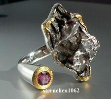 Einzelstück * Ring * 925 Silber * 24 ct Gold * Meteorit - Stein * Turmalin